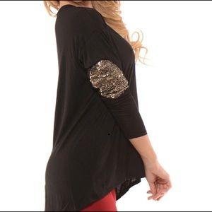 Tops - Sequin Elbow Patch Top